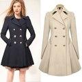 S-xxl de la mujer moda largo más tamaño Trench escudo botón de manga larga plisada primavera otoño invierno delgado Windcoat prendas de vestir exteriores abrigos