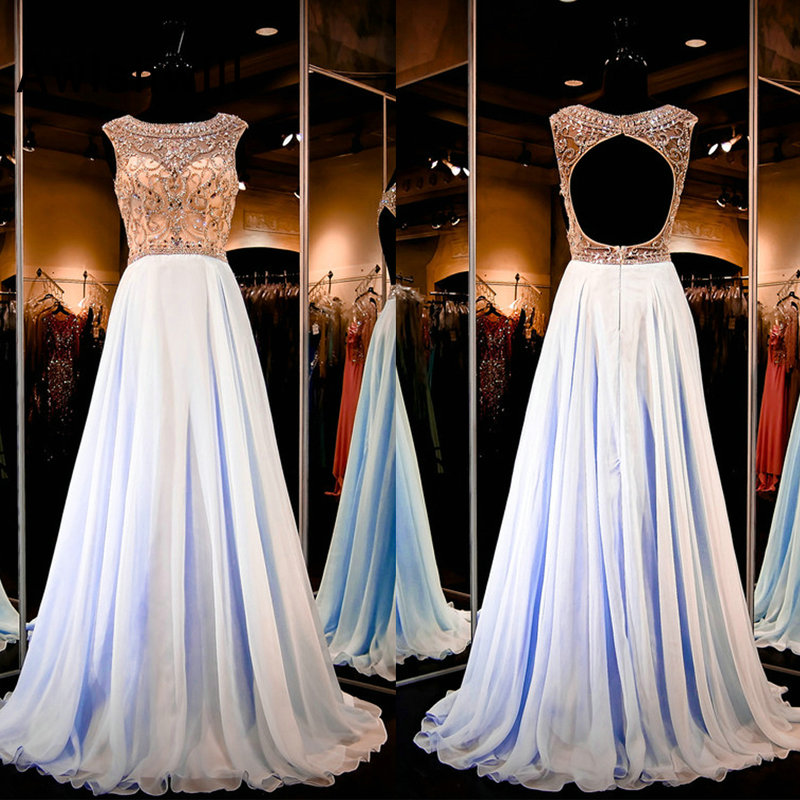 Custom-made A Line Sexy Open Back Prom Dress With Beadings Chiffon Sleeveless Long Formal Evening Dress Bestidos de Gala(China)