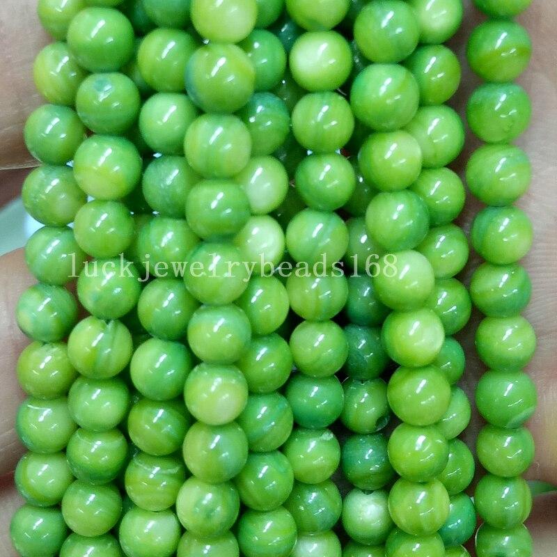 beautiful green jade loose beads 15/'/' free shiping