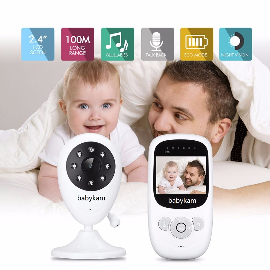 babykam baby phone camera video baby monitor 2.4 inch IR Night Light Vision Intercom Zoom Temperature Monitor Lullaby babyphone