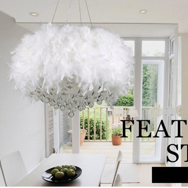 Lampe à suspension plume blanche lampe à suspension en cristal salon ...