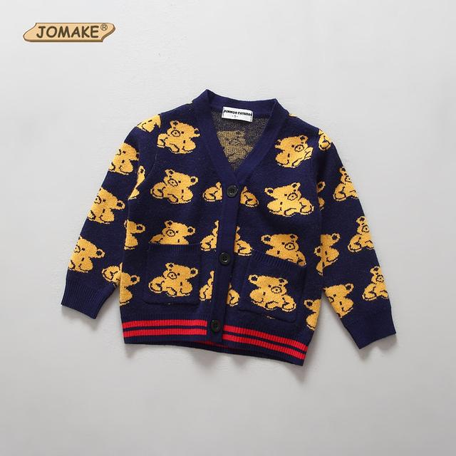 Suéter Del otoño Del Bebé Infantil Lindo Niños de Dibujos Animados Oso Chaqueta Cardigan Niños Niñas Suéteres de Punto Niño Niña Abrigo Prendas de Vestir Exteriores 18 M-6 T
