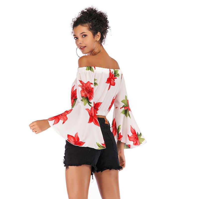 חדש 2019 נשים של אביב קיץ חולצה חולצה סקסי כבוי כתף שיפון חולצות פרחוני Leopard חולצות בתוספת גודל צמרות בד blusas