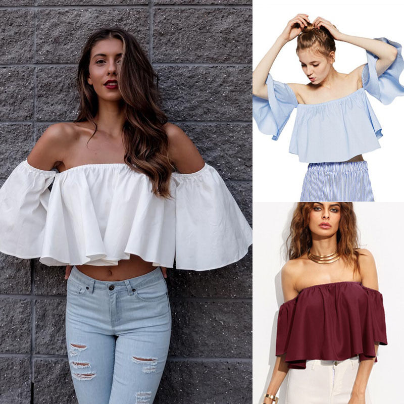 New Womens Blouse White Flare Wide Sleeve Shoulderless Solid Tank Tops Off Shoulder Crop Top Cropped Casual Summer Blouse Womens