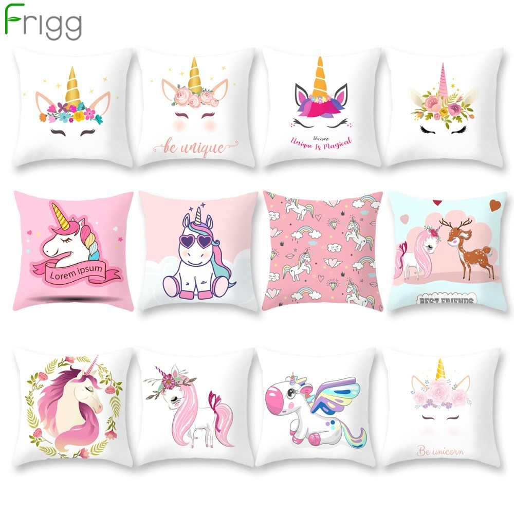 Frigg Unicorn Sofa Decorative Cushion Covers Cartoon Owl Seat Cushion Chair Home Decor Pillow Case Pillowcase 45*45 Pillow Cover