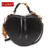 Fashion PU Leather Crossbody Bags for Women 2019 Heart Shaped Shoulder Bag Scarf Tote Purse Handbag Messenger Bag