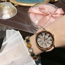 2019 Fashion Top Brand Luxury Watch Women Leather Strap Designer Dress Big Stone Crystal Watches Quartz