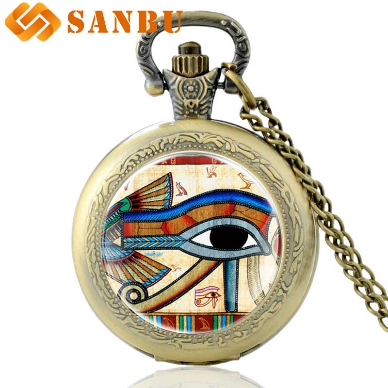 The Eye Of Horus Quartz Pocket Watch Vintage Bronze Men Women Retro Necklace Pendant Antique Jewelry Gifts