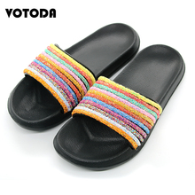 New Summer Flat Rainbow Slippers Women Sequin Flip Flops Bling Slides Soft Non Slip Home Slipper Lady Casual Beach Sandals Shoes suojialun women sandals 2019 summer new fashion butterfly knot beach flip flops ladies flat casual non slip slides slipper