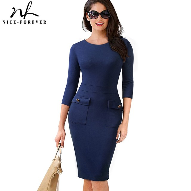 Nice-forever Women Vintage Pure Color Wear to Work Button vestidos Business  Party Office Bodycon Vintage Pencil Dress B465 2b8b893dd98d