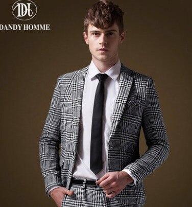 Clearance Sale Men Thicken Black White Formal Suit Jacket Plaid ...