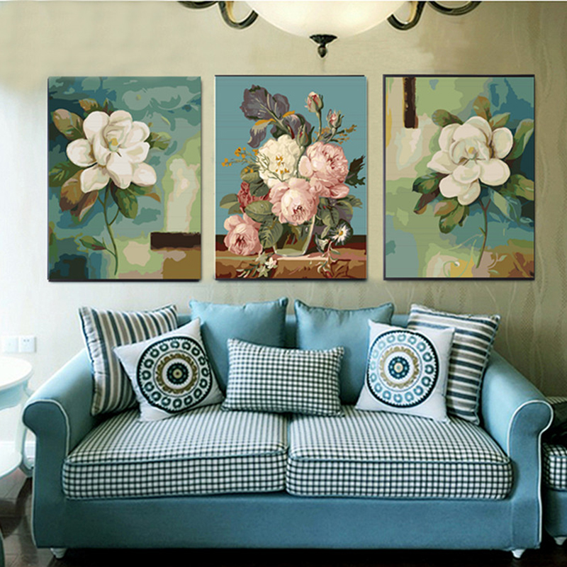 40X50CM home decor Hand painted canvas Triptych oil paintings wall pictures for living room Beauty Flower painting by number