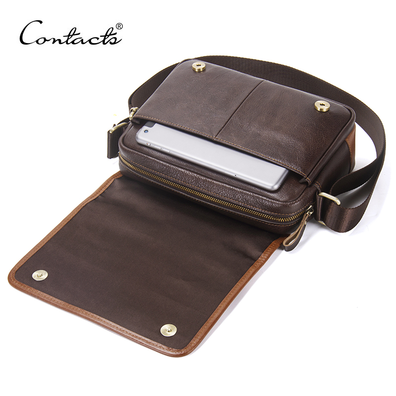 2018 New Casual Men's Shoulder Crossbody Bag High Quality Genuine Leather Luxury Satchel Bags With Phone Pocket Messenger Bag
