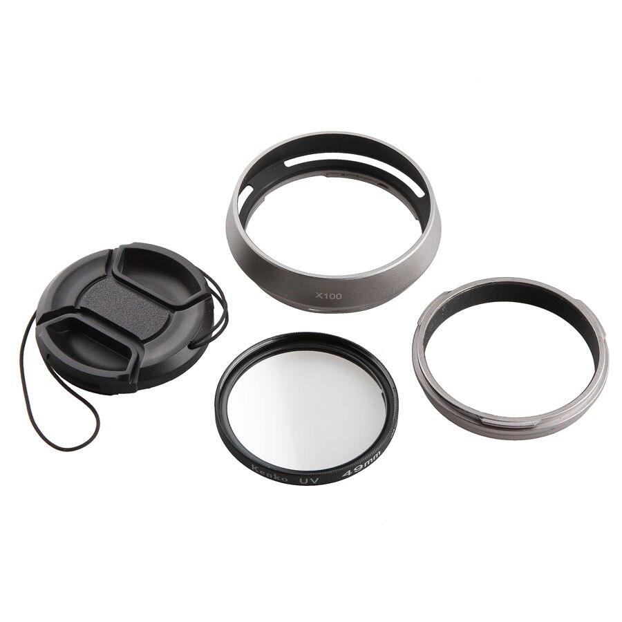 4-In-1 For Fujifilm Fuji X100 X100s X100t Camera Lens Adapter + Lens Hood + 49mm UV Filter + 49mm Lens Cap