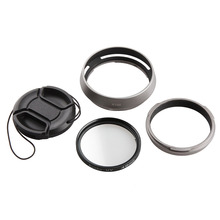 4In1 Accessories For Fujifilm Fuji X100 X100s X100t Camera Lens Adapter + Lens Hood + 49mm UV Filter + 49mm Lens Cap