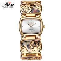 WEIQIN Leopard Bracelet Watches Women Fashion Rhinestone Gold Watch Quartz Watch Hour Gift For Her Reloje