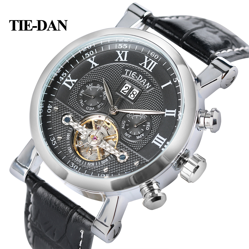 TIEDAN Men's Tourbillon Mechanical Watch Luxury Business Self-Winding Wristwatch Trendy Genuine Leather Fashion Date-Day Display майка print bar ford mustang shelby gt500 [шредер]