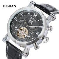 Men S Tourbillon Mechanical Watch Luxury Business Self Winding Wrist Watch Trendy Genuine Leather Fashion New
