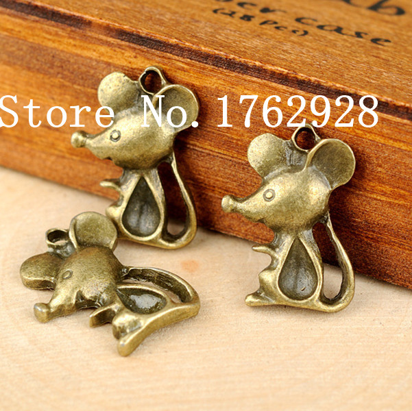 Free Shipping! 100pcslot 18x23mm Antique Bronze Mouse Charm DIY Making