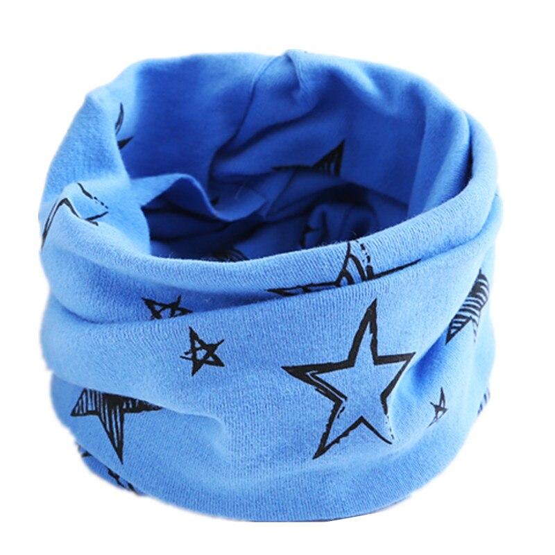 Осенне-зимний детский хлопковый шарф для девочек и мальчиков теплые шарфы Детский круглый кольцевой ошейник Детский шарф детский волшебный шейный платок - Цвет: blue star