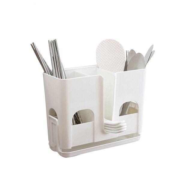 Spoon Organizer Tube Dish Drainer Plastic Chopsticks Cutlery Storage Box  Kitchen Accessories