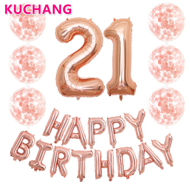 21pcs Lot 40inch Number 21 Happy Birthday Letter Rose Gold Silver Confetti Balloons Boys Girls 21st Party Decorations