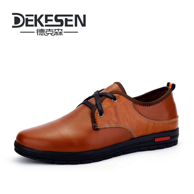 DEKESEN Brand Size 37-48 Handmade Genuine leather Shoes for Man, Soft Sneakers mens Moccasins, High Men Business Flats Shoes cbjsho brand men shoes 2017 new genuine leather moccasins comfortable men loafers luxury men s flats men casual shoes