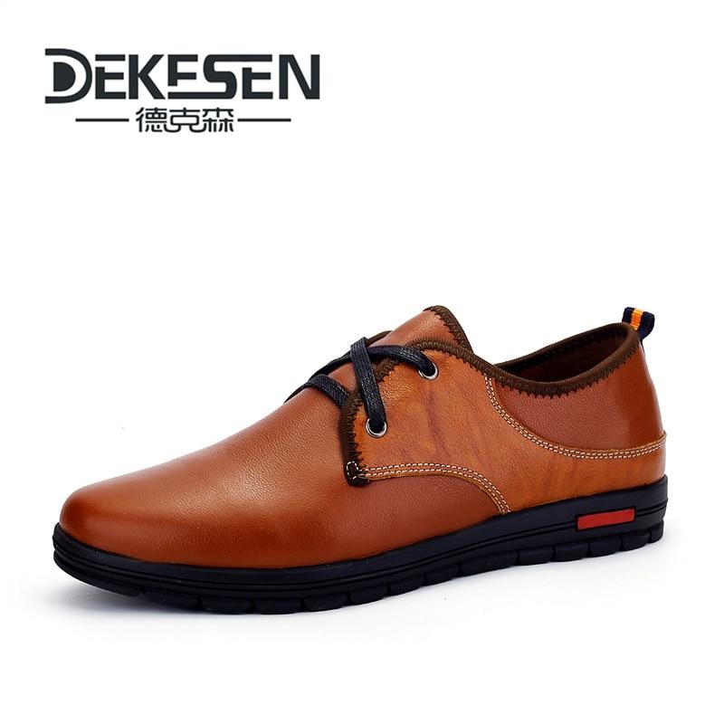 DEKESEN Brand Size 37-48 Handmade Genuine leather Shoes for Man, Soft leather men Moccasins, High Quality Men Flats Shoes