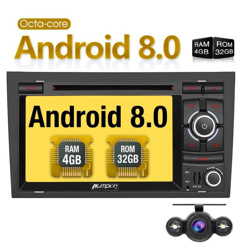 Citrouille 2 Din 7 ''Android 8.0 lecteur DVD multimédia de voiture Navigation GPS octa-core 4G RAM 32G ROM autoradio pour Audi A4 2003-2008