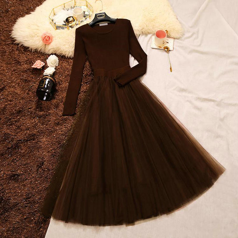 2018 spring new female pleated dresses womens o-neck long sleeve knit splicing gauze waist dress women fluffy dress