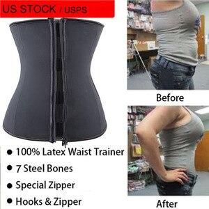 Image 2 - Lover Beauty Latex Waist Trainer Zipper Underbust Tummy Corset Body Shaper Waist Cincher Slimming Belt Plus Size Shapewear Women