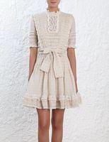 Women High Neck Ruffled Lace Trim Helm Dot Frill Dress Pleated Linen Flared Mini Dress