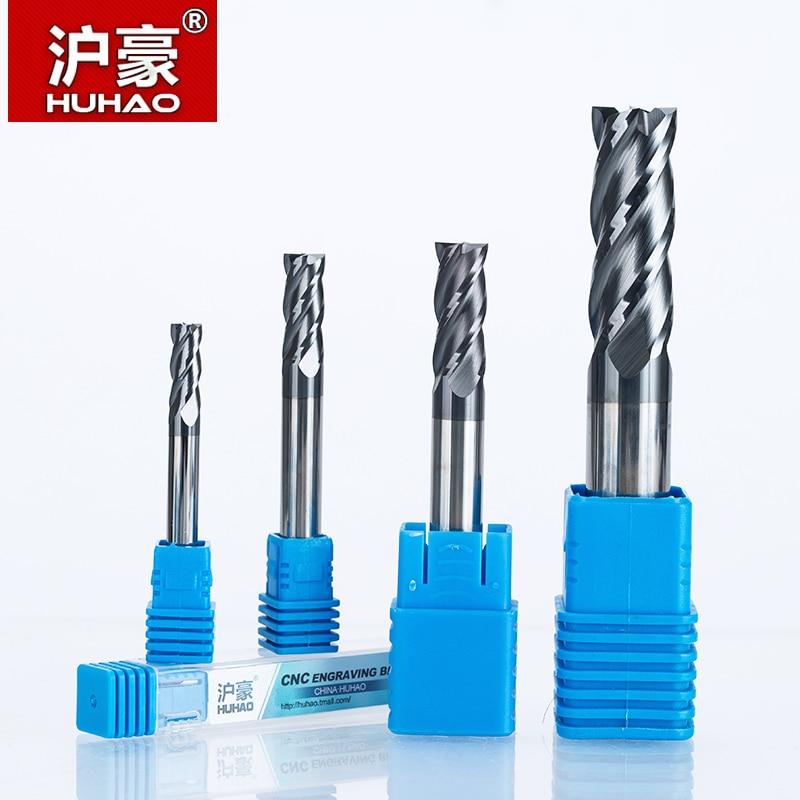 HUHAO 1PC 4 hornyok Tömör keményfém végmaró CNC marószerszám HRC45 R1 1.5 2 3 4 6 8 10 20 mm-es marómarók CNC marógéphez