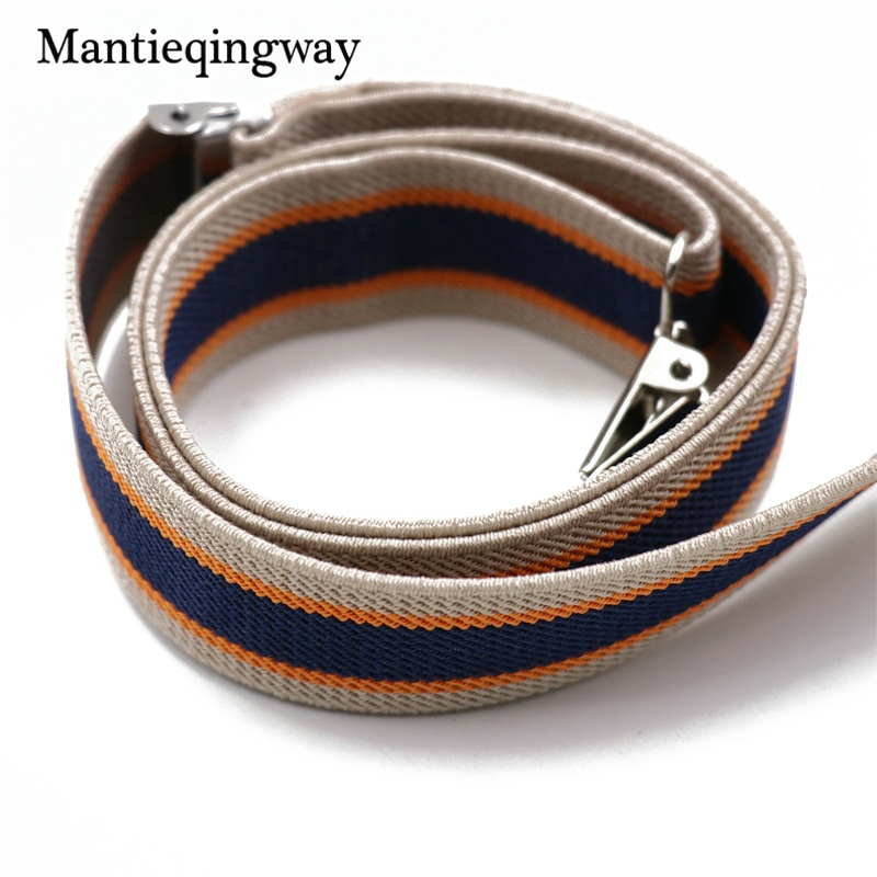 Mantieqingway High Quality Men's Suits Elastic Striped Suspenders Men PU Leather 3 Clip Suspenders Belt Strap Adjustable Braces