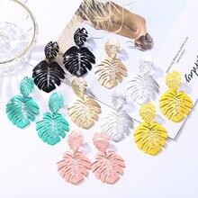 HOCOLE Geometric Long Drop Dangle Earrings Fashion Leaf Earring For Women Wedding Party Jewelry Wholesale