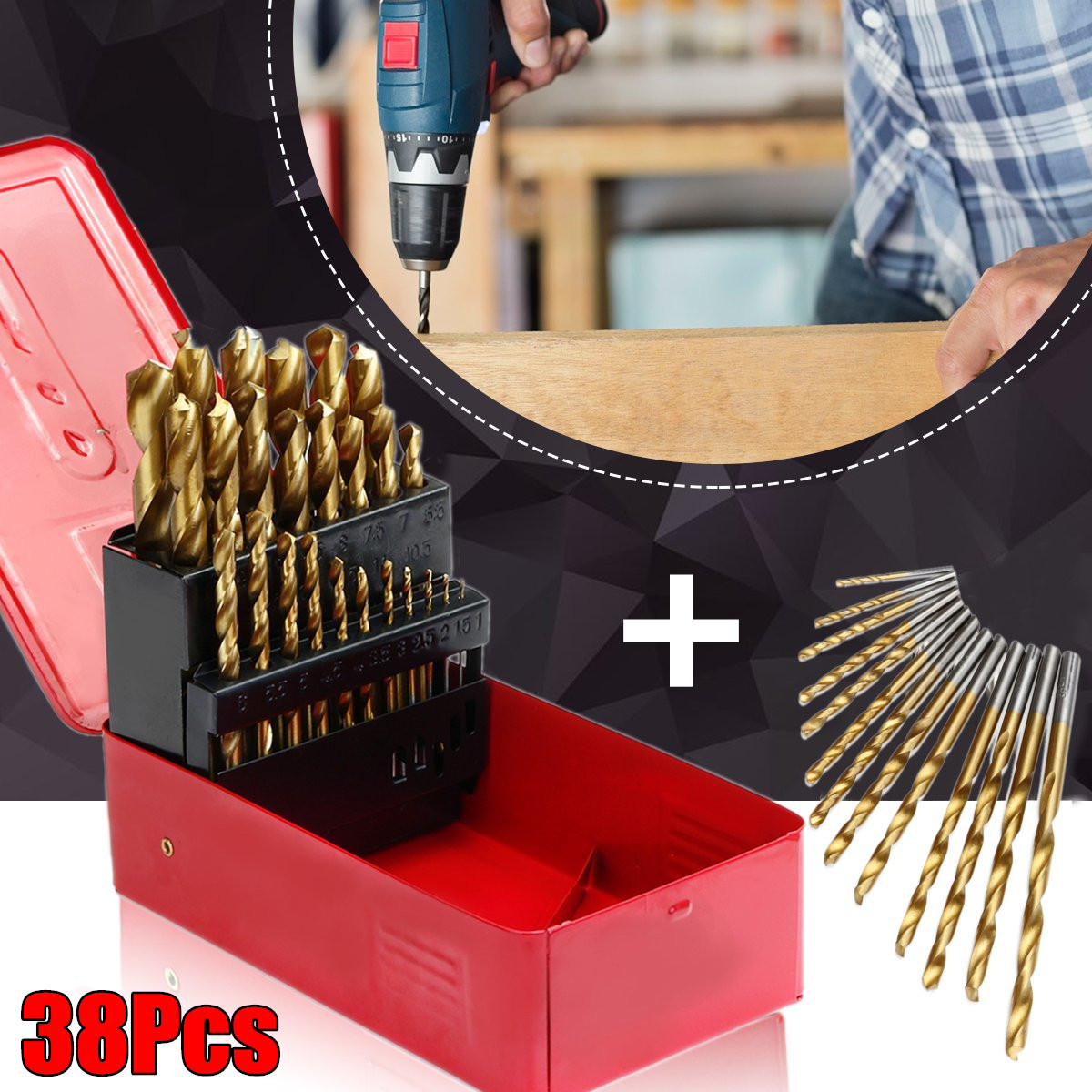 38Pcs HSS High Speed Steel Drill Bits Set Tool Titanium Coated Drill Bits High Quality Power Tools 1-13mm kcchstar the eye of god high quality 316 titanium steel necklaces golden blue
