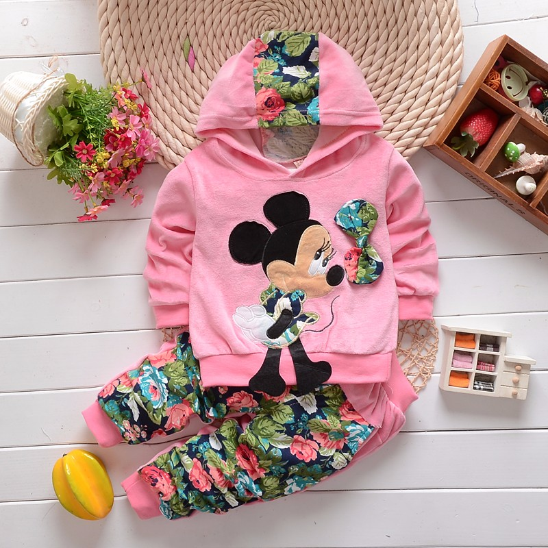 Småbarn Tjej Klädsel Set Kids 2016 Våren Barn Velvet Kläder Set Cartoon Minnie Baby Girls T-shirts Hoodies + Byxor