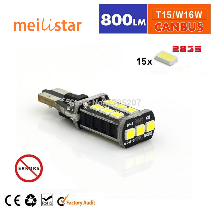 Free shipping 1x New 7.5w T15 LED Reverse Light W16W 15SMD Car LED NO ERROR Back UP light rear Lamp white Car styling