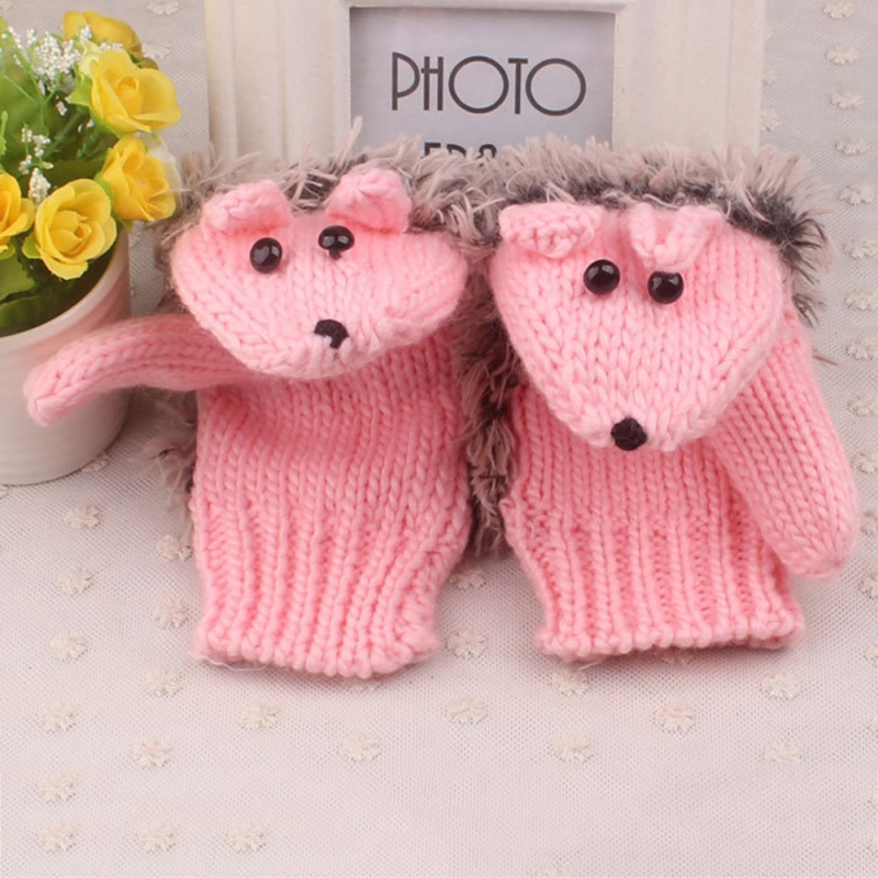 New 8 Colors Girls Novelty Cartoon Winter Gloves for Women Knit Warm Fitness Gloves Hedgehog Heated Villus Wrist Mittens D1 in Women 39 s Gloves from Apparel Accessories