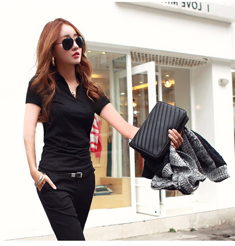 Summer Polo Shirt Women 2016 New Short Sleeve Solid Slim Polos Mujer Shirts Tops Fashion Plus Size Polo Femme 5 Color A192  g