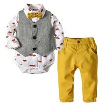 купить Baby Boys Autumn Fashion infant clothing Toddler Suit Clothes Gentleman Bow Tie Rompers + Vest + pants For Bebe Boys Sets 2Y дешево