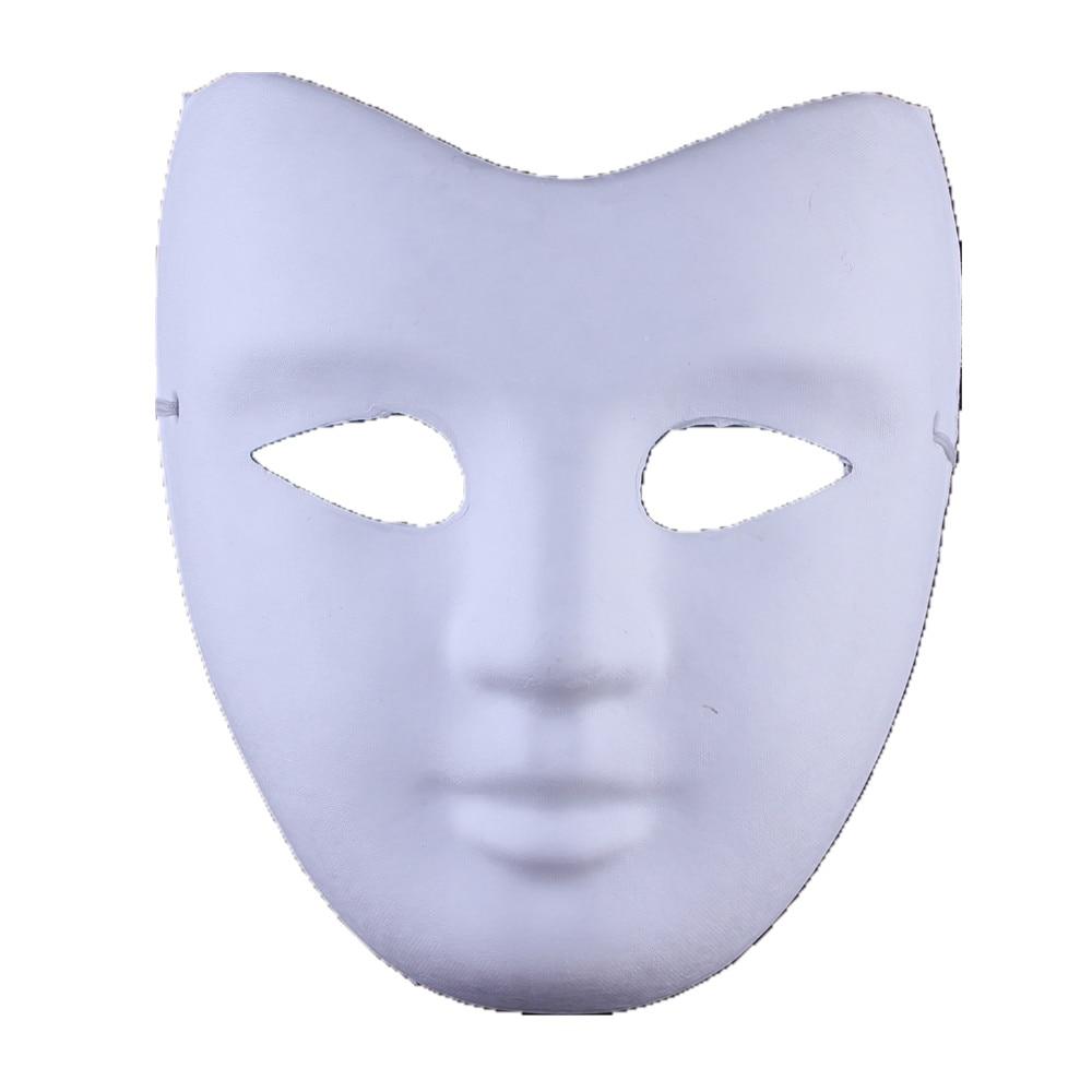 Кричащие призраки DIY пустые Вечерние Маски белая бумажная целлюлоза окружающей среды Изобразительное искусство живопись программы Маскарад полное лицо маски 10 шт - Цвет: v