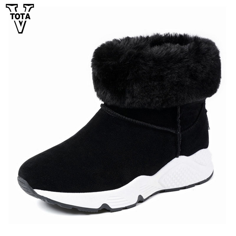 VTOTA Fashion Women Snow Boots Round Toe Solid Fur Warm Woman Boots Wild Platform Women Shoes Flock Wedges Ankle Boot HYFC11 flat with bow ankle boots shoes style women boots round toe platform snow boots for women fashion flock short outdoor shoes