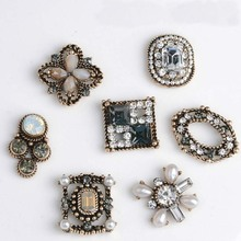 10pcs/lot Reco Gold Disk Metal Decorative Buttons DIY Hair Accessories Headwear Handmade Artificial Diamond Jewelry