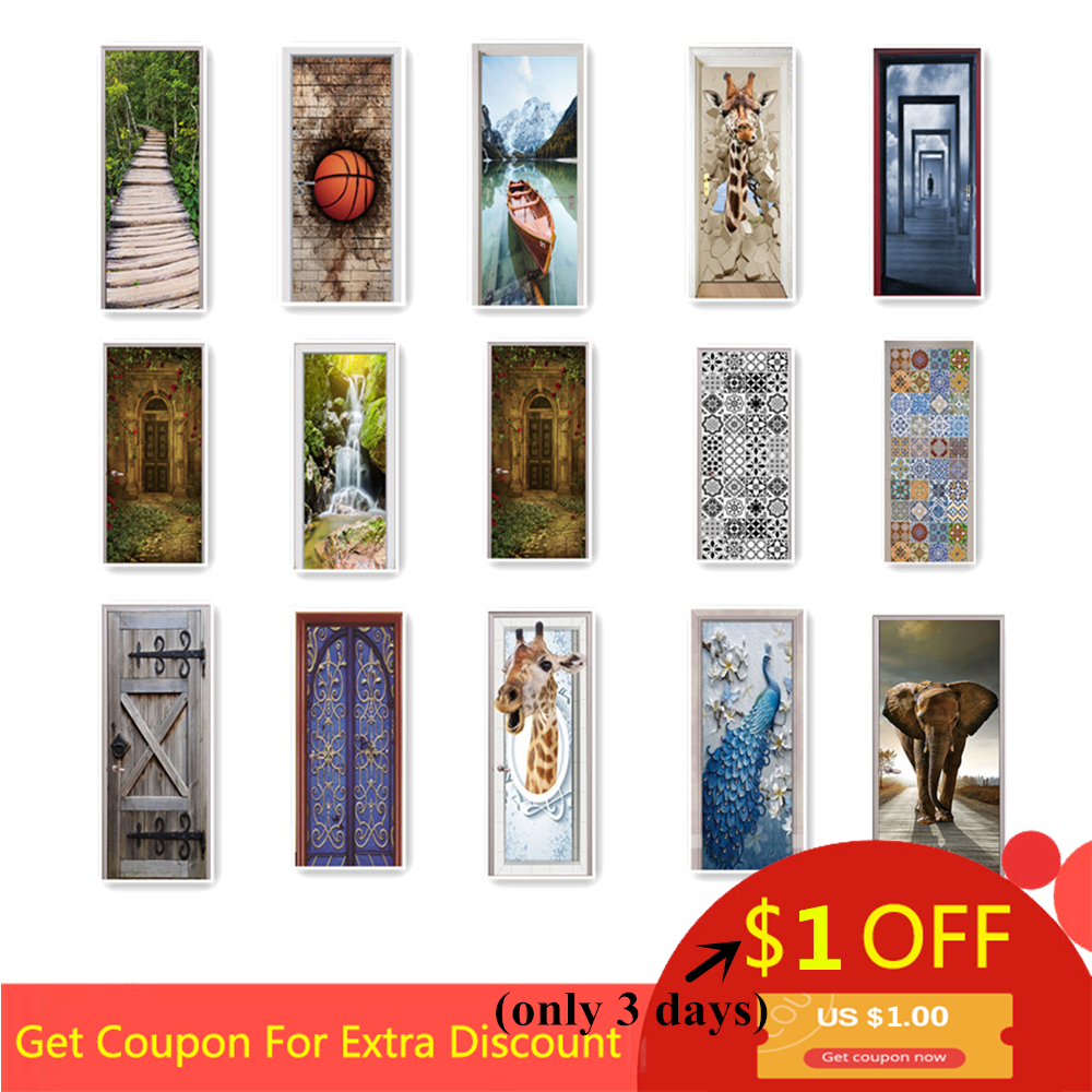 Custom Size Wood Door Stickers For Living Room Bedroom Landscape PVC Self Adhesive Wallpaper Waterproof Renovation Mural Decals