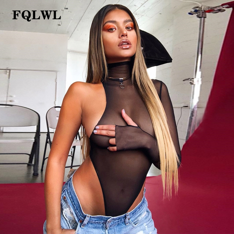 FQLWL See Through Black Mesh Sexy Bodysuit Women   Jumpsuit   Summer Romper Long Sleeve Transparent Ladies Bodycon Bodysuit Female