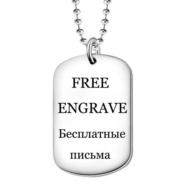 Free Engraved US Army Dog Tag 925 Silver Customized Photo Name Phone Number Pedant Kid ID Logo Tags Lovers Couples Children Gift
