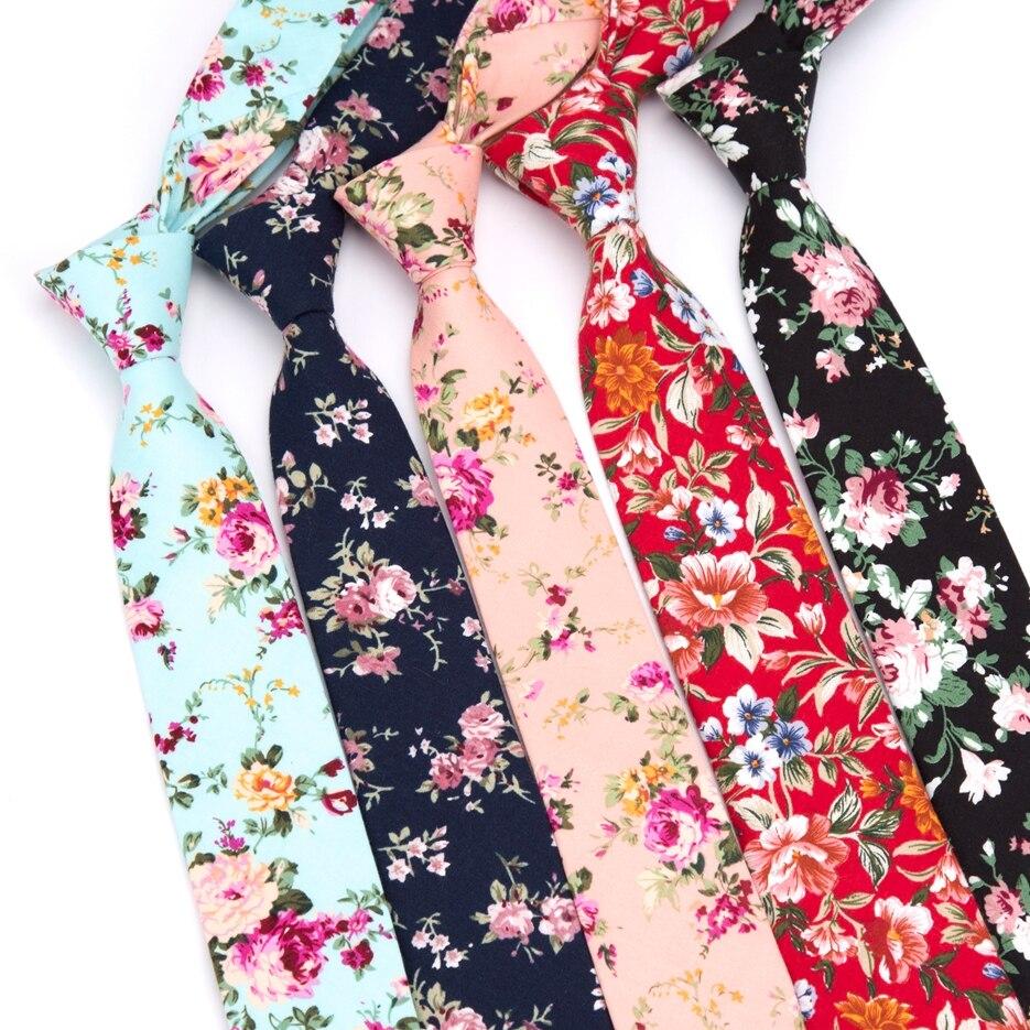 Mens Necktie Cotton Flower Tie 6CM Fashion Men Wedding Parties Dress Print Tie Gravatas Homens Shirt Bowtie Corbatas Para Hombre