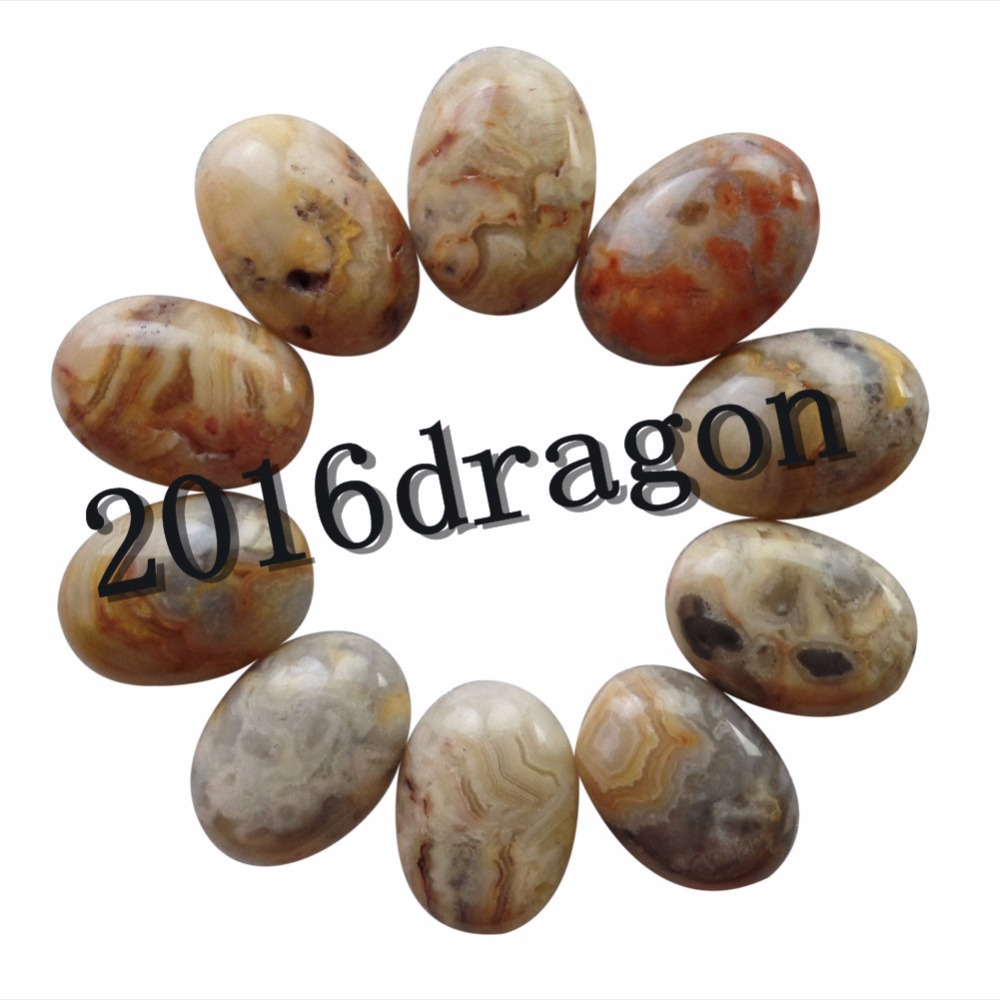 (10 pieces/lot) Wholesale Yellow Crazy Lace Agates Oval CAB CABOCHON 25x18x6mm Free Shipping Fashion Jewelry
