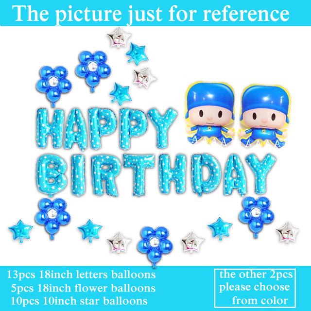 30pcs Lot Birthday Balloons Cartoon Pocoyo Helium For Boy Happy Party Set